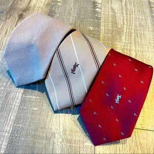 3 YSL men's ties all with YSL logo